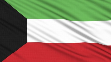Kuwait flag, with real structure of a fabric