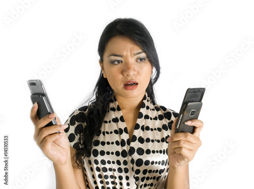 Asian lady doubt with phone