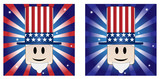 Uncle Sam with Stars and Stripe in american flag colors poster