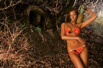 Bikini Woman With Pineapple