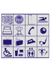 a set of hotel service signs, vector icons