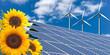 Sonnenenergie / Solar, Sonnenblume & Windrad