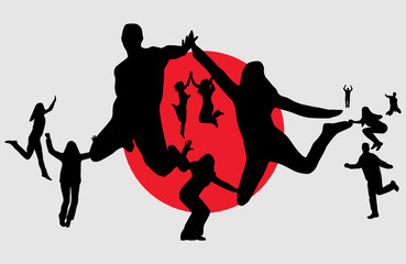 Flag of japan and people jumping