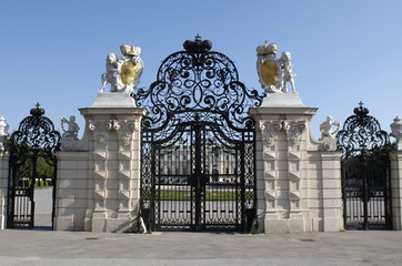 The Belvedere is a baroque palace complex. Entrance gate