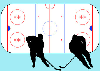 Hockey players in action and playground vector illustration