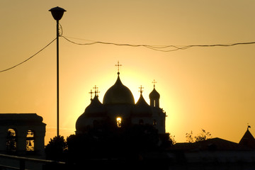 Silhouette of orthodox cathedral in Novgorod
