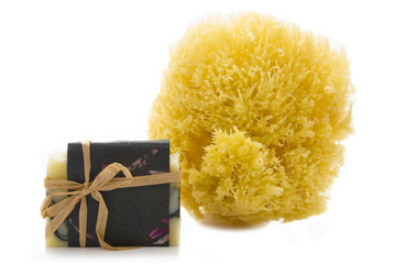 Handmade soap and sea sponge
