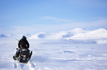 Winter Snowmobile Landscape