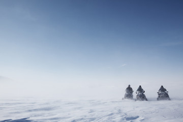 Snowmobile in Storm