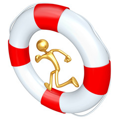 Gold Guy Running In Life Preserver