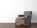 Fototapety interior design brown armchair on white