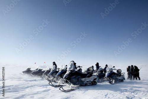 Fotobehang Antarctica 2 Snowmobile Group