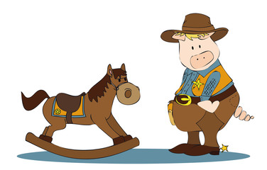 sheriff pig on rocking horse