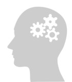 Illustration of cogs or gears in human head, vector poster