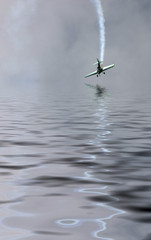 Airplane over the water