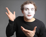 Fototapety portrait of the mime isolated on grey background