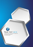 Blue Background with Hexagons poster