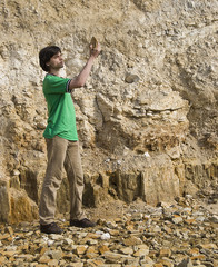 Young geologist studying rock type 4