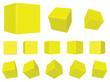 3d yellow cubes