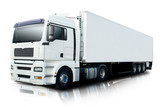 Fototapety White Semi Truck Isolated