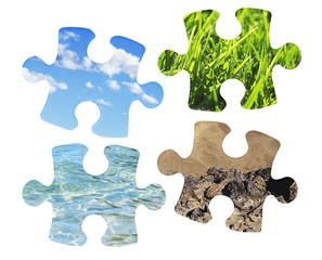 puzzle pieces with nature motives