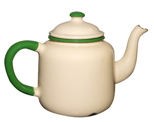 Old Enamel Teapot isolated with clipping path.