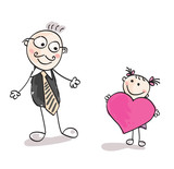 Big daughter love. Doodle vector cute daughter and father. poster