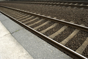 Railway lines at a train station