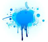 Grunge Floral Background with big blue blot poster