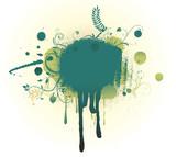 Grunge Floral Background with big blot poster