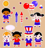 Fourth of July. Set of children. All images are separated poster