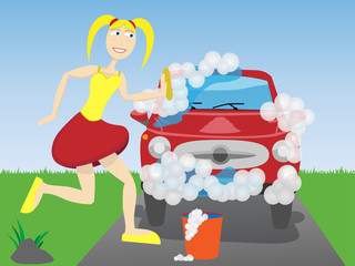 Cheerful gal washes sud covered vehicle with sponge
