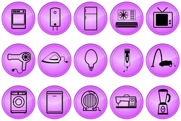 Illustration of home appliances buttons