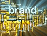 Brand marketing wordcloud glowing poster