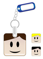Keychain with head and tag where you can insert your name
