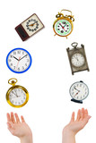 Juggling hands and clocks poster