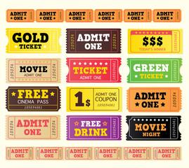 Vintage cinema tickets. BIG COLLECTION. Vector.