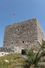 Tower on Pigeon island in Kusadasi Turkey