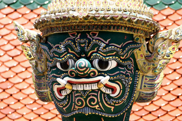 Guardian demon in Grand palace in Bangkok Thailand