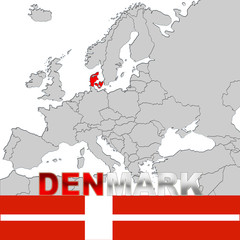 DENMARK MAP NAD FLAG