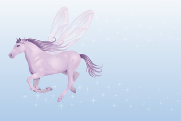 Violet horse with wings.