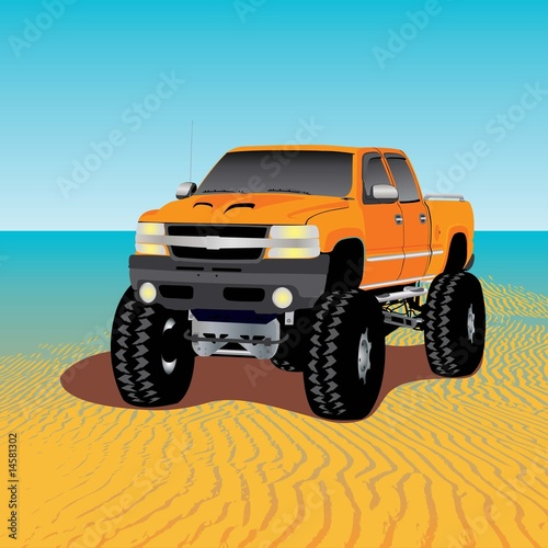 Foto op Canvas Cartoon cars monster truck