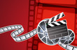 roleta: abstract background with film, clapperboard and a film reel