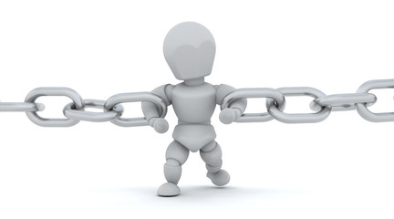3d render of man holding chain together