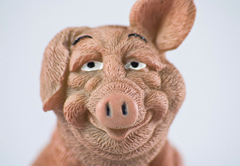 ceramic bobble pig face front