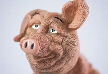 ceramic bobble pig face side