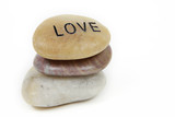 Love engraved on stone poster