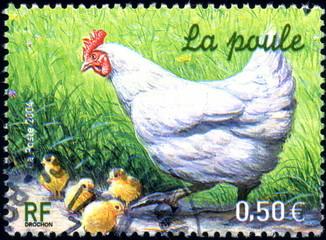 République française. La poule. Timbre postal.