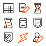 Database web icons, orange and gray contour series poster