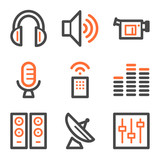 Media web icons, orange and gray contour series